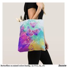 Shop Butterflies on mixed colors background Tote Bag created by Pick_Up_Me. Save My Money, Indie Outfits, Magical Unicorn, Antique Clothing, Vintage Handbags, Color Mixing, Art For Kids, Vintage Fashion, Butterfly
