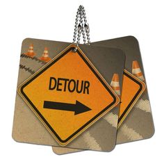 Detour Arrow Stylized Orange Grey Caution Sign Wood MDF 4' x 4' Mini Signs Gift Tags *** Check out this great product.