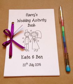 Personalised Cartoon Children Wedding Activity Pack Book Gift Favour 13 Colours (EBay) $2.60 ea + $6.52 ship