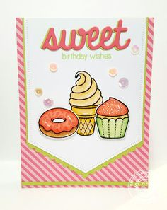 Sunny Studio Stamps: Sweet Birthday Wishes Ice Cream Cone, Cupcake & Donut Card by Lindsey Sams. Sunnies Studios, Studio Cards, Birthday Wishes Cards, Making Ideas, Stampin Up, Card Making, Banner, Doodles, Paper Crafts