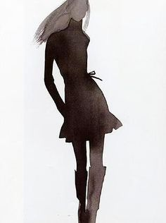 #Watercolour #fashion #illustration - elegant silhouette painting // Mats Gustafson