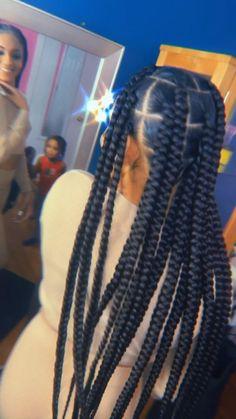 Braided Cornrow Hairstyles, Box Braids Hairstyles For Black Women, Braids Hairstyles Pictures, African Braids Hairstyles, Braids For Black Hair, Big Twist Braids Hairstyles, Cornrows, Long Braids, Chunky Box Braids