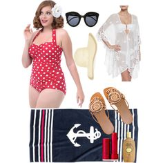 Beach Day Classic by retro07 on Polyvore featuring polyvore, fashion, style, Miguelina, Esther Williams, Hermès, Monsoon, Fresh, Sun Bum and H&M
