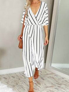fdc58285c33 Fashion Women Wide Leg Jumpsuit 2018 Summer Casual Pant V-neck Short Sleeve  Striped Romper Trouser Office Long Playsuit Bodysuit