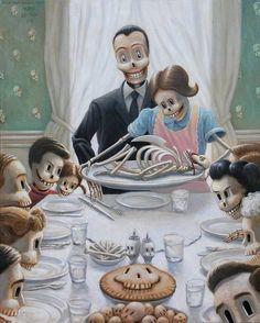 Mark Bryan--- this is how I see the Original Norman Rockwell painting Surrealism Painting, Pop Surrealism, Creepy Art, Weird Art, Arte Horror, Horror Art, Art And Illustration, Halloween Illustration, Portrait Illustration