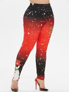 Plus Size Christmas Snowflake Snowman Print Leggings