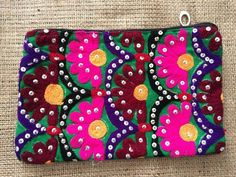Lovely little pouches sewn with handmade vintage tribal clothing textiles. Several available but all unique! From Jodhpur, India. Tribal Clothing, Clothing And Textile, Pouch Bag, Pouches, Handmade Bags, Handmade Items, Tribal Outfit, Tribal Women, Mirror Work