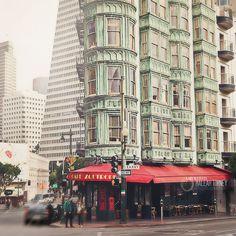 San Francisco Cafe, Architecture Photography - city decor, old buildings print. $30.00, via Etsy.