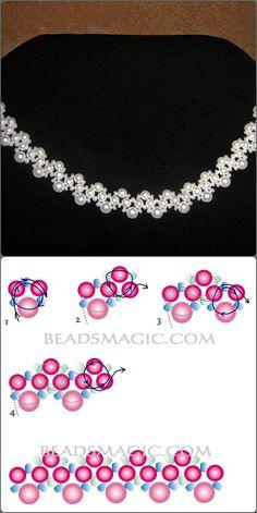 collar perlas con su esquema