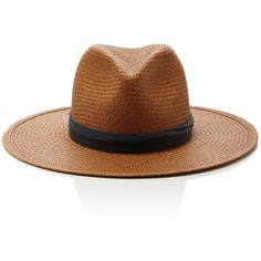 83c49250e05e7 Janessa Leone Panton Short Brimmed Panama Hat ( 251) ❤ liked on Polyvore  featuring accessories