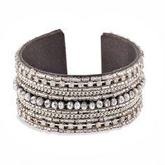 Bracelet manchette noir et argenté