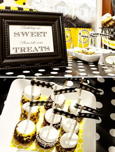 Bold Black & Yellow 1st BEE-Day Party // Hostess with the Mostess®