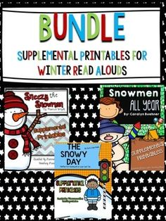 """BUNDLED SET of Supplemental Printables for the books - """"The Snowy Day"""" by Ezra Jack Keats, """"Sneezy the Snowman"""" by Maureen Wright, and """" Snowmen All Year"""" by Caralyn Buehner. These are perfect for your Sub Tub, home work, or independent work after you read each story."""