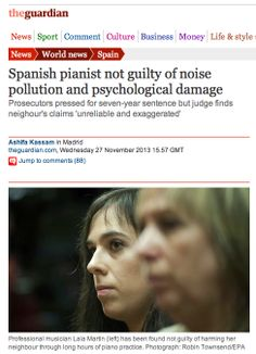Spanish pianist not guilty of noise pollution and psychological damage. Prosecutors pressed for seven-year sentence but judge finds neighour's claims 'unreliable and exaggerated'. New Spain, Noise Pollution, Business Money, Sentences, Psychology, Spanish, Life, Frases, Psicologia