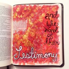 """""""And they overcame him by the blood of the Lamb and by the word of their testimony and they did not love their lives to the death."""" Revelation 12:11  #biblejournaling #biblejournalingcommunity #bible #scripture #amen #jesus #shereadstruth #illustratedfaith #faith #create #painting #watercolor #red #gold #art #revelation by nickeyandree"""