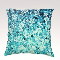 FLOWER POWER in #Blue Fine Art Velveteen Throw by EbiEmporium, $75.00 Decorative Fine #Art #Floral #Painting Velveteen Throw #Pillow, #Decorative #Rainbow Home Decor Colorful Fine Art Toss #Cushion, Modern Bedroom Bedding Dorm Room Living Room Style Accessories #Hipster #Teal #Turquoise #Neon #Cerulean #ombre #royal #navy #seafoam #elegant