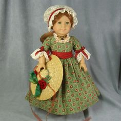 "Made by ""I Dream of Jeanne Marie"".  Colonial dress for an American Girl doll, like Felicity."