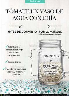 12 tips para comer sanamente. 12 tips to eat health… Water iconography with chia. 12 tips to eat healthy. 12 tips to eat healthily. Healthy food Delicious food Diet Food without calories Healthy Juices, Healthy Drinks, Healthy Tips, Healthy Eating, Healthy Recipes, Healthy Food, Detox Recipes, Nutrition Drinks, Healthy Detox