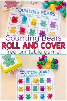 Counting Bears Math Game and Activities- Counting Bears Math Game and Activities Your kids will love this fun counting bears math game! There are several ways to play and a variety of math skills you can develop with this free printable math game. Bears Preschool, Preschool Math Games, Preschool Colors, Counting Activities, Free Preschool, Color Activities, Space Activities, Cool Math Games, Preschool Centers