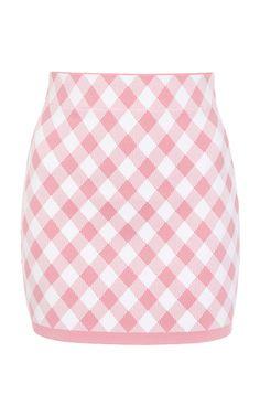 Shop Gingham Jacquard-Knit Mini Skirt.
