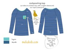 Rockpooling Top Breton Top, Fair Trade Clothing, Screen Printing, Kids Outfits, Product Launch, Organic, Turquoise, Sleeves, Cotton