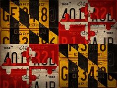 Maryland State Flag License Plate Art Poster Print by Design Turnpike (32 x 24)