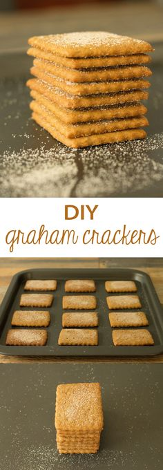 Homemade graham crackers are a fun weekend project your kids will go nuts for, not to mention a delicious DIY! Bake of Ed n minutes Baking Recipes, Cookie Recipes, Dessert Recipes, Desserts Diy, Gourmet Desserts, Baking Desserts, Health Desserts, Sweet Desserts, Homemade Graham Crackers