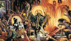 Virbhadra Mahakali Destroying Dakshas Yagya - Shivas Anger-http://www.templepurohit.com/veerabhadra-swamy-manifestation-of-lord-shivas-wrath/