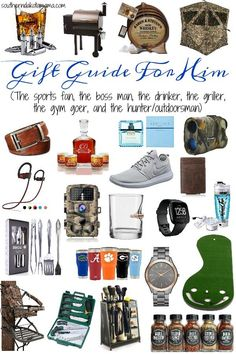Gift Guide For Him Here You Will Find Ideas The Sports Fan Boss Man Drinker Griller Gym Goer And Hunter Outdoorsman
