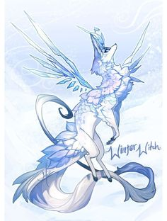 { advent day 29 } winter witch [over!] by manaberry on deviantart Cute Fantasy Creatures, Mythical Creatures Art, Mystical Animals, Mythological Creatures, Magical Creatures, Cute Animal Drawings, Kawaii Drawings, Cute Drawings, Wolf Drawings