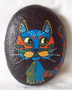 Cat Pebble Hand Painted Sea Pebble with Multi-Coloured Cat on Natural Sea Pebble!!