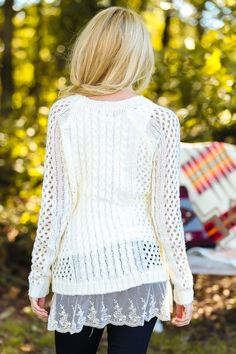 Lengthen a sweater by adding some lace to the bottom of it...now perfect for skinny's or leggings!