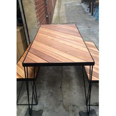 Redfox and Wilcox workshop table and bench seats. Steel and timber outdoor furniture.