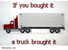 Semi Truck cross stitch pattern.