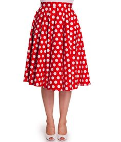 Dance the night away in this 50's style full circular skirt.  Made from pretty big polka dot cotton fabric.  White button fastening at back of waistband.  Invisible zip to centre back of skirt.  Can be worn with a long Hell Bunny petticoat to increase the volume of the skirt and to get that 50's look!  Petticoat is not included with the skirt but available to purchase separately in our store.  Machine Washable  Material: 98% Cotton 2% Elastane  Length: Below Knee