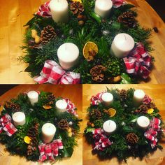 Christmas decoration, advent wreath, N5 Christmas Wreaths, Christmas Decorations, Table Decorations, Holiday Decor, Advent Wreath, Fun, Home Decor, Christmas Garlands, Homemade Home Decor