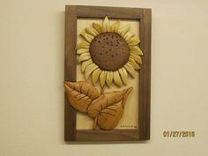 SUNFLOWER 16 Intarsia carved gift by Rakowoods flower by RAKOWOODS