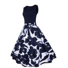 f9b31b6701424 Polka Dot Vintage Dress 1950s Sleeveless Round Neck Bows Swing ...