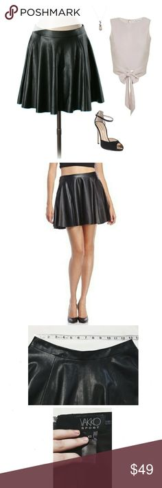 """New! Vakko Vegan Faux Leather Skirt Approx 15.5"""" Length. Faux Leather. Vakko Sport (Neiman Marcus) black skirt. A-line/circle skirt. Banded waist, back zip closure, poly/spandex lining. Several hanger indentations on waistband (some are visible in 3rd photo). Aside from that, it's in excellent condition. Very trendy and can be worn year-round! Pair with femine pieces to contrast, or play up the edginess with otk boots! Feel free to make an offer!    *I'm lucky that my buyers have all been…"""