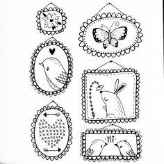 Framed Favorites. Day 31 of yearlong 30 minute sketchbook project. © #matssketchgroup #journalsketch #30minutesketch #sketch #frames #cute #rabbit #bunny #bird #butterfly #nature #drawing #art #heart