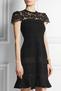 VALENTINO Lace-paneled stretch-knit dress  NET-A-PORTER   NET-A-PORTER