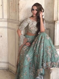 Pakistani bridal dress gold & green by republic womenswear bridal sprin Indian Bridal Outfits, Pakistani Wedding Dresses, Pakistani Outfits, Indian Dresses, Lehenga Choli Designs, Indie Mode, Party Kleidung, Pakistani Couture, Beleza