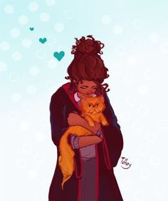 """tuffuny: """"He's gorgeous, isn't he?"""" Art blocks are a pain to have. Luckily, I got rid of mine. Here is Hermione Granger and her lovely cat, Crookshanks. Harry Potter Artwork, Harry Potter Drawings, Hogwarts, Desenhos Harry Potter, Harry Potter Universal, Ravenclaw, Fantastic Beasts, Minions, Kitten"""