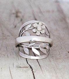 Unique Elegant Spoon Ring Sterling eco jewelry Daisy Wreath Leaf Silver SPOON RING 1932 Spring Floral pierced 925 spoon eco art silver ring on Etsy, $92.00