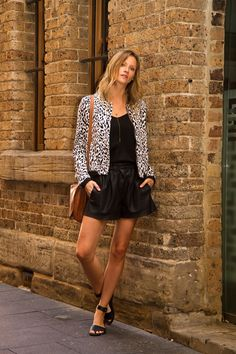Street Style   Leopard Bomber   Fall Fashion   Leather Shorts  