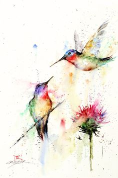 Hummingbirds and Flower Watercolor Painting by Dean Crouser
