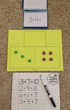 Math Facts Flip Book.  Have students use ERASERS and a part-part-whole mat to solve addition & subtraction problems in the spiral flip book!  Students can record their work on a dry erase board or in their math journals.