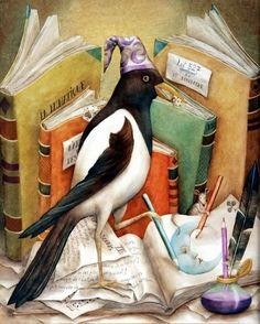 La Pie Lunatique (The Crazy Magpie) by   Agnès Boulloche (Artist. France). Bird, Mouse, Illustrators, Books.