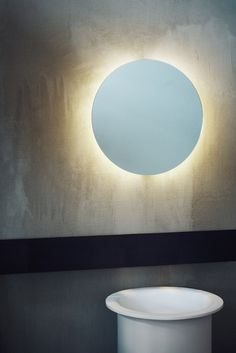Agape, Bucatini Led mirror #agapedesign - Mirrors with polished edge supported by stainless steel cable sheathed in transparent plastic or wall mounted + In-Out washbasin http://www.agapedesign.it/en/products/517-in-out. Learn more on agapedesign.it