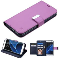 MYBAT Premium PU Wallet Samsung Galaxy S7 Edge Case - Purple